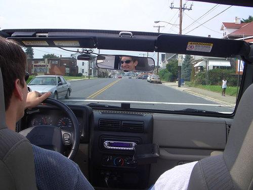 Owen in the driver's seat, Thad in shotgun