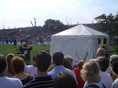 A tossed caber