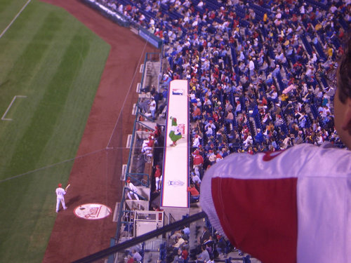 The Phanatic Dancing on the dugout